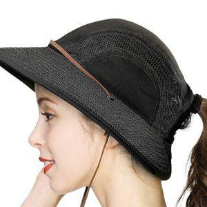 Foldable sun hat women's ponytail hole hunting bea